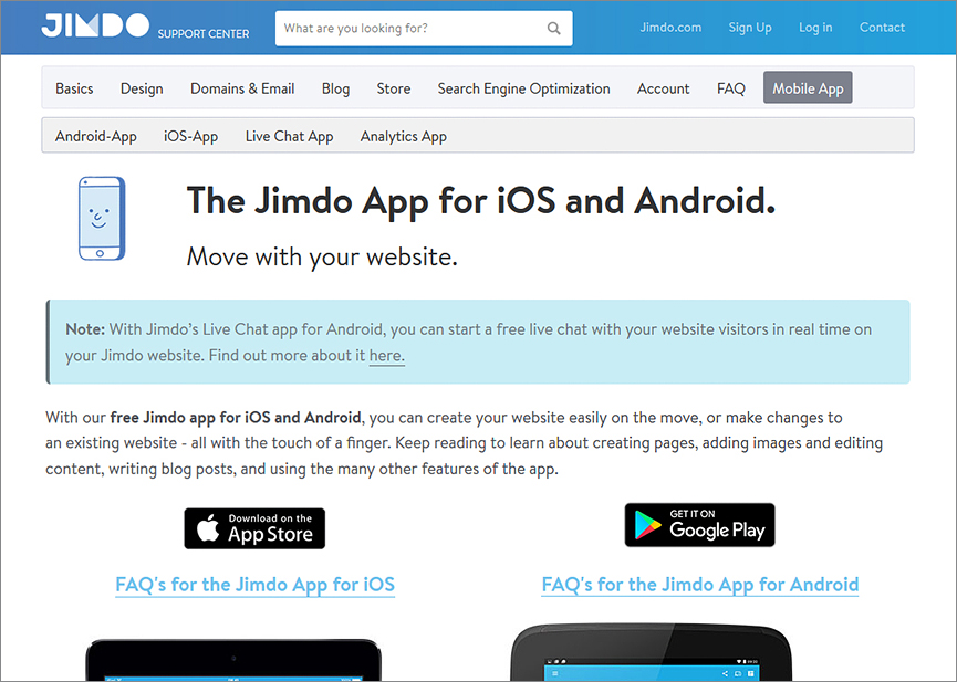 Jimdo Mobile App for Website Control on the Move