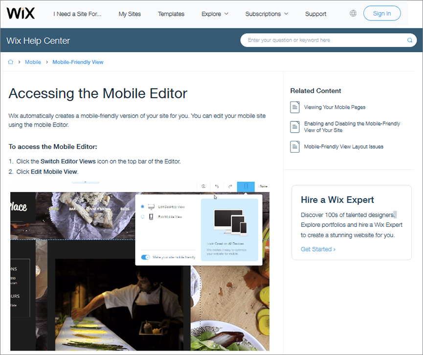 Wix Mobile Editor – create mobile site