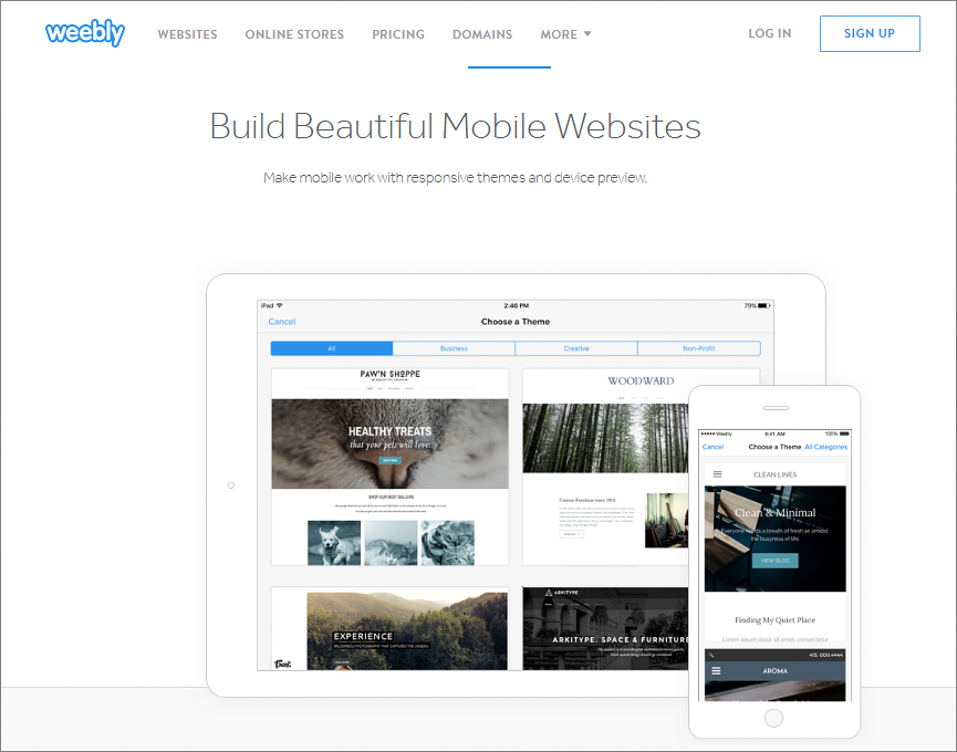 Weebly Mobile – create mobile site