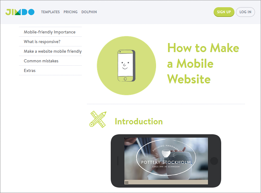Jimdo – create mobile site