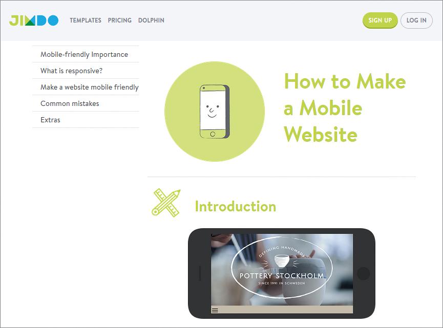 Jimdo – create mobile site