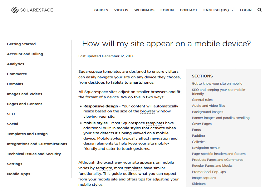 Squarespace Mobile – create mobile site