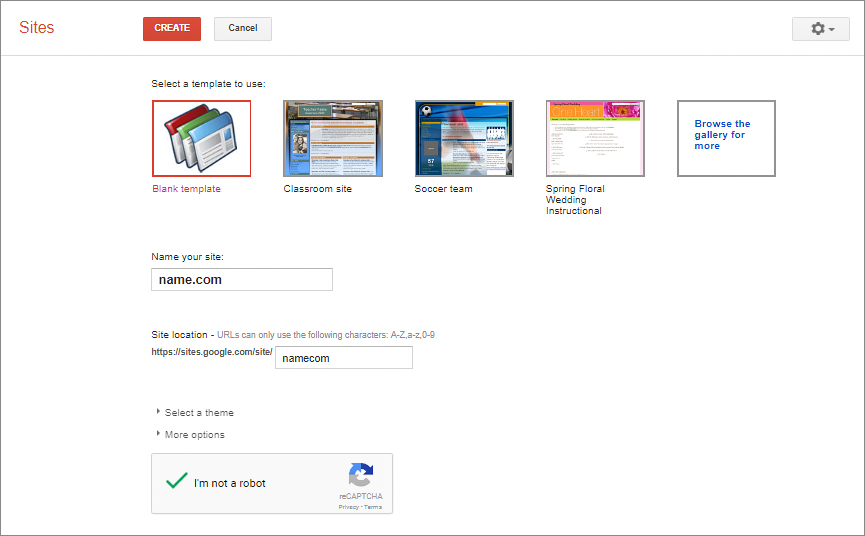 Inside Google Sites